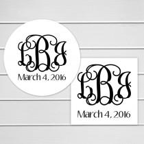 wedding photo - Monogrammed Wedding Stickers, Monogram Wedding Stickers, Wedding Labels, Wedding Stickers (#156)