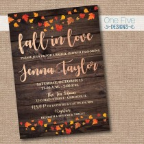 wedding photo - Fall In Love Rose Gold Rustic Bridal Shower Invitation Autumn Leaves Wood Country Chic - Printable (5x7)