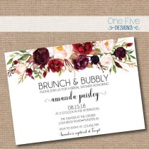 wedding photo - Brunch & Bubbly Bridal Shower Invitation With Flowers (fall Colors, Elegant, Simple, Classic, Burgundy, Blush, Garden) - Printable (5x7)