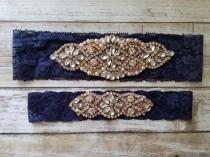 wedding photo - Sale -Wedding Garter and Toss Garter-Crystal Rhinestone with Rose Gold Details - Navy Blue Lace - Style G20903RGNV