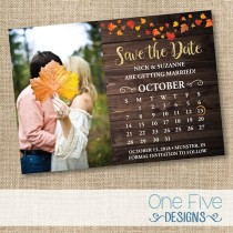 wedding photo - Fall Rustic Wedding Save The Date, Autumn Leaves, Calendar, Country Chic - Printable (5X7)
