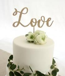 wedding photo - Love cake topper, wooden cake topper, wedding timber cake topper, engagement cake