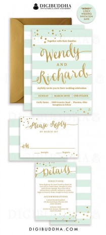 wedding photo - MINT & GOLD WEDDING Invitation Glitter Confetti 3 Pc Suite RSvP Enclosure Card Mint Green Stripe Invite Free Shipping O DiY Printable- Wendy