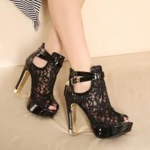 wedding photo - Sexy Mesh Ankle Peep Toe High Heels Sandals