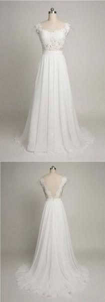 wedding photo - A-Line Boat Neck Cap Sleeves Sweep Train White Chiffon Wedding Dress With Lace