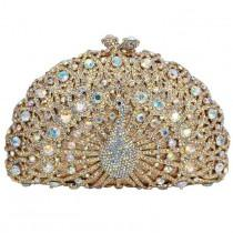 wedding photo - LaiSC Luxury Crystal Evening Bag Peacock Clutch Diamond Party Purse Pochette Soiree Women Evening Handbag Wedding Clutch Bag 049