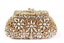 wedding photo - Luxury Dazzling Rhinestone Wedding Clutch Flower Hollow Cut Crystal Bridal Pruse