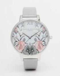 wedding photo - Olivia Burton Enchanted Garden Gray Patent Big Dial Watch