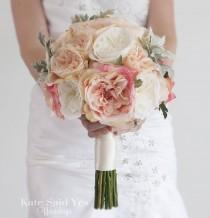 wedding photo - Blush Pink Bouquet, Garden Rose Bouquet, Wedding Bouquet, Silk Bouquet, Garden Rose Wedding Bouquet with Dusty Miller