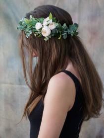 wedding photo - Flower crown wedding, ivory flower crown, bridal floral crown, greenery crown, flower girl crown, bridal headpiece