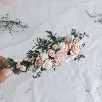 wedding photo - Pale pink and dusty rose and grenery headpiece, floral hair piece, pale pink hair clip, bridal hair piece, blush pink quarter wreath, bri