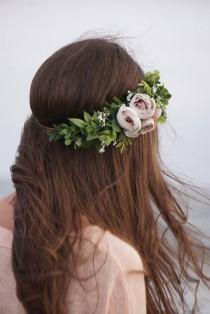 wedding photo - Flower crown, bridal flower half crown, greenery baby's breath crown, ivory blush floral headband, wedding crown