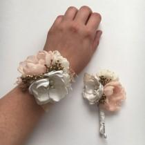 wedding photo - Peach and Cream and Gold - Choose Your Pieces - Wrist Corsage and Boutonnière Set - Fabric Flowers - Prom - Homecoming - Wedding, Bridesmaid