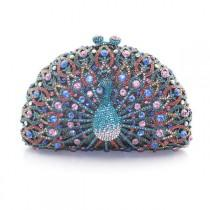 wedding photo - Elegant Diamante Crystal Rhinestone-Accent Jewel Peacock Ladies Evening Clutch Purse 16 Colors