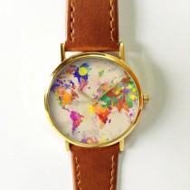 wedding photo - Watercolor World Map Watch, Leather Watch, Women Watches, Boyfriend Watch, Men's Watch, Vintage Style Watch, Silver Gold Rose
