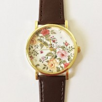 wedding photo - Autumn Fall Floral Watch, Vintage Style Leather Watch, Women Watches, Unisex Watch, Boyfriend Watch, Black, Tan