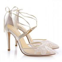 wedding photo - Alencon lace ivory wedding shoes heels with ankle straps. classic lace wedding heels Bella Belle Anita