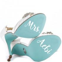 wedding photo - Something Blue for your shoe Vinyl Shoe Decal Wedding Shoes Decal Personalized Bridal Gift