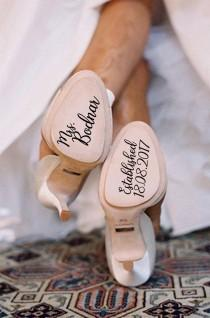 wedding photo - Personalized Wedding Shoes Stickers, Wedding Shoes Decal, Bride Shoes Decal, Something Blue, Wedding Decal, Bride Decal, Wedding Photo Prop