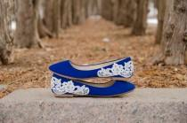 wedding photo - Blue Ballet Flats, Wedding Flats, Blue Flats,Bridal Shoes,Low Wedding Shoes,Blue Bridal Flats,Gift,Something Blue Lace Flats with Ivory Lace