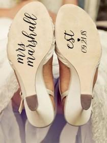 wedding photo - Custom shoe decal/ wedding shoe decals/ wedding shoe stickers/ wedding stickers/ wife to be/ wifey decals/ wedding shoes/ wedding