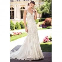 wedding photo - Style 117275 by David Tutera for Mon Cheri - Silver  Ivory  White Lace  Tulle Floor Straps  V-Neck Wedding Dresses - Bridesmaid Dress Online Shop