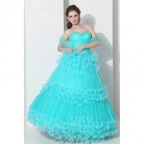 wedding photo - Unique Ball Gown Sweetheart Floor Length Tulle Blue Glow Prom Dress COLF1300A - Top Designer Wedding Online-Shop