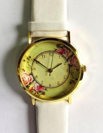 wedding photo - Floral Watch, Vintage Style Leather