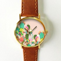 wedding photo - Succulent Cactus Plant Collection Watch 5, Vintage Style Leather Watch, Women Watches, Boyfriend Watch, Men's Watch, Pink Green