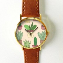 wedding photo - Cactus Plant Watch , Cactus Jewelry , Vintage Style Leather Watch, Women Watches, Succulents , Men's Watch, Cactus Print, Watches, Gift