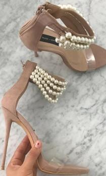 wedding photo - Peace   Love Nude Pearl Strap Heels
