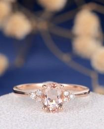 wedding photo - Morganite Engagement Ring Rose Gold Diamond Cluster Ring Oval Cut Bridal Wedding Ring Promise Women Thin Multistone Anniversary Gift for Her