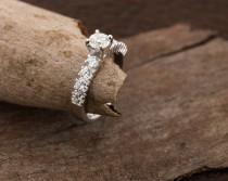 wedding photo - On sale!!! Diamond Engagement Ring 1.30 ct-14K white Gold-Promise ring-diamond engagement ring-Anniversary ring- Art nouveau engagement ring