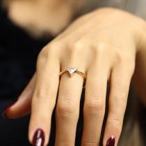 wedding photo - GIA Trillion Cut 0.58ct Diamond Engagement Ring,  Simple Bezel Set Diamond Ring,Modern Solitaire Ring, Solitaire Engagement Ring