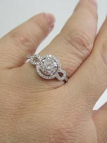 wedding photo - CZ Halo Round Cut Engagement Ring, CZ Engagement Ring, Halo Engagement Ring Art Deco Ring Cubic Circonia Engagement Ring Round Halo Gift her