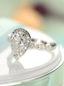 wedding photo - Pear shaped engagement ring Vintage Moissanite engagement ring white gold Antique Halo Diamond Wedding Women half eternity Anniversary Gift