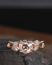 wedding photo - Rose Gold Morganite Engagement Ring Marquise Moissanite Infinity Split Shank Unique Leaf Antique Women Curved Promise Anniversary Gift Ring