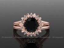 wedding photo - Sun Flower Engagement Ring, Black Diamond Engagement Ring, Diamond Ring, Rose Gold, Wedding Ring Right Hand Ring. Re00032