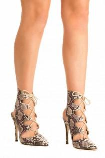 wedding photo - Lace Up High Heel Snake Print Shoes In Brown
