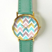 wedding photo - Chevron Pastels Watch , Vintage Style Leather Watch, Women Watches, Boyfriend Watch, Men's Watch, Autumn Back To School
