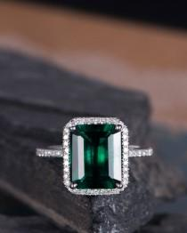 wedding photo - Lab Emerald Engagement Ring White Gold Emerald Cut Halo Diamond Wedding Ring Anniversary Bridal Birthstone Ring Half Eternity  Women 8*10mm