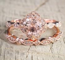 wedding photo - Limited Time Sale 2 carat Round Cut Morganite and Diamond Halo Bridal Wedding Ring Set in Rose Gold: Bestselling Design Under Dollar 600