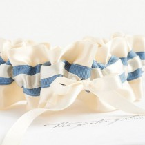 wedding photo - Bridal Garter, Lingerie For Bride, Dusty Blue, Garter In Ivory, Pretty Gift Bride, Casual Wedding, As Seen On The Knot