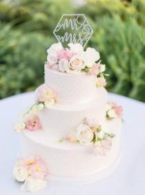wedding photo - Geometric Wedding Cake Topper Mr & Mrs Cake Topper In Glitter Or Rustic Wood Calligraphy Style Modern Boho Geometric Wedding (Item - GMM900)
