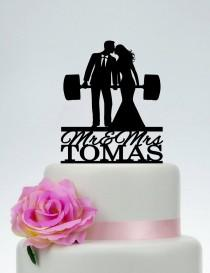 wedding photo - Wedding Cake Topper,Fitness Couple Cake Topper,Weight lifting Groom and Bride, Last Name Cake Topper,Custom Cake Topper C219