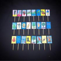wedding photo - Set of 24 Loteria Card Cupcake Toppers