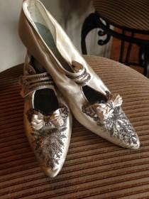 wedding photo - Splendid Edwardian Satin Beaded Wedding Shoes--Original Box, Provenance