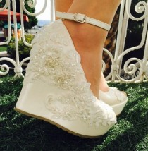 wedding photo - Wedding , Wedding Shoes, Bridal Shoes, Ivory Wedding Shoes, Ivory Wedges, Bridal Wedges,