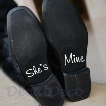 wedding photo - She's Mine Wedding Shoe Vinyl Deco Decal Sticker for Bridal Groom Wedding Shoe Wedding Shoe Sticker Personalized Wedding Something Blue