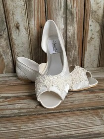 wedding photo - Bridal Lace Satin Flats Open Toe Beaded Lace Flats Peep Toe Wedding Shoe Pearls Crystals